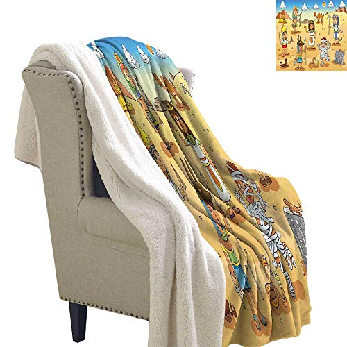 Benmo House Flannel Bed Blankets Cartoon,Historical Egypt Characters with Pyramids Cleopatra King Mummy Child Design Image,Multicolor Warm Blanket 60x32 Inch]()