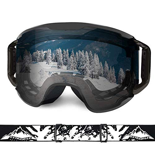 Extra Mile Ski Goggles, Snow Sports Goggles Snowboard Snowmobile Skate Motorcycle Riding, Dustproof Scratch Resistant, Double Anti Fog UV400 OTG Over Compatible Glasses, for Men Women Youth Unisex