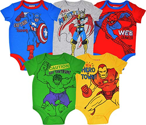 - Marvel Avengers Baby Boys 5 Pack Bodysuits Hulk Spiderman Iron Man Thor & Captain America 12 Months