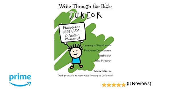 Workbook bible studies for kids worksheets : Write Through the Bible, Junior: Philippians 2:1-18 ESV, D'Nealian ...