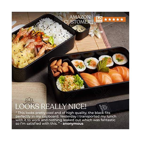Umami® ⭐ Premium Bento Lunch Box con Vaschetta Condimento & 3 Posate - Porta Pranzo Ermetico a 2 Scomparti - Pasti A… 2 spesavip