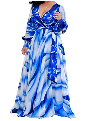 Swing Long Maxi Floral Big Dress V Coolred As1 Sleeve Women Neck Chiffon wETpa1q