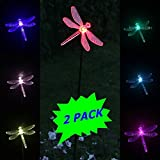 2 Solar Powered Dragonfly LED Garden Stake Pathway Patio Lawn Light Sun i ST05