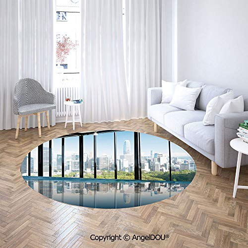 AngelDOU Chair Floor Mat Round Cloakroom Carpet Metropolitan Cityscape of New York USA in Central Park Forest Photo for Home Printed Area Rug.