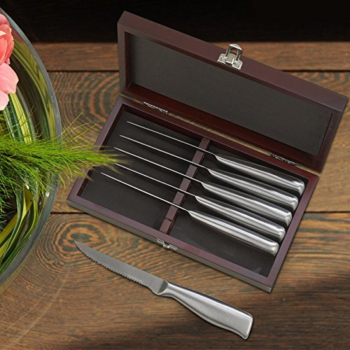 Center Gifts Steak Knife Set of 6 Piece Personalized | Custom Hinged Rosewood Finished Wooden Case, Stainless Steel Steak Knives, Kitchen Cutlery | Thanksgiving, Barbecues, Holiday | Engrave with Name