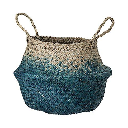 Deko Korb mit Griff aus Seegras in natur und blau, Ø30xH23 cm, Flechtkorb zur Aufbewahrung für Wäsche, Spielzeug oder…