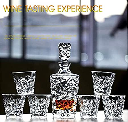 Decantador de lujo de whisky Golden con seis gafas, regalos para hombres - Accesorios de barra - Decantador de licor de cristal para Borbón, Scotch o Whisky