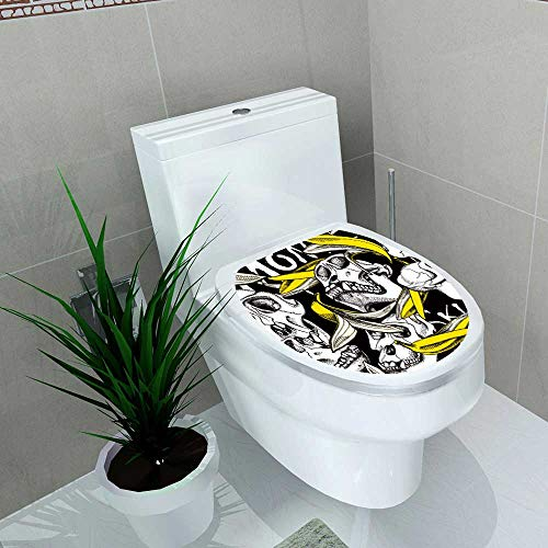 Decoration Bathroom Toilet Cover Sticker Skull Monkey a Yellow Banana Skin on a Black Background Vector Restroom Wall Decals W15 x L17 ()