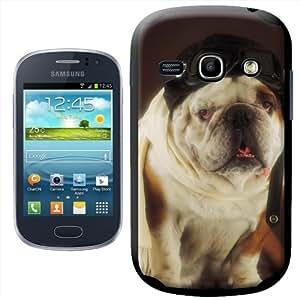 Fancy A Snuggle - Carcasa rígida para Samsung Galaxy Fame S6810, diseño de bulldog disfrazado de piloto