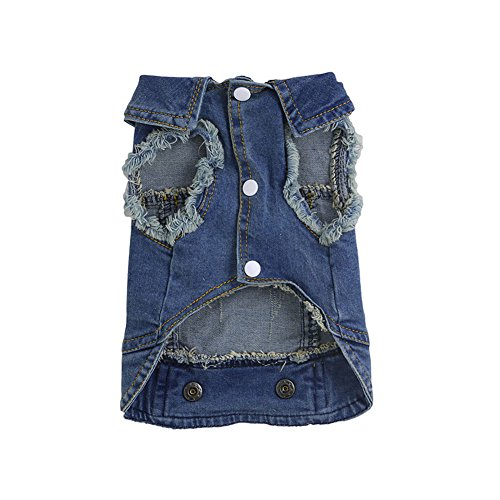 Delight eShop Soft Blue Jeans Denim Cute Pet Dog Cat Puppy Coat Jacket Clothes Costume Apparel (Dog Mario Costume)