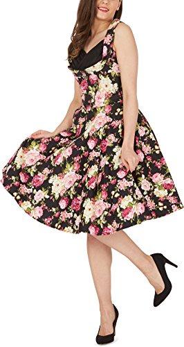 Años Divinity Classic Rosas Flores 'Aura' BlackButterfly Vestido Negro 50 ZxRFzfEq