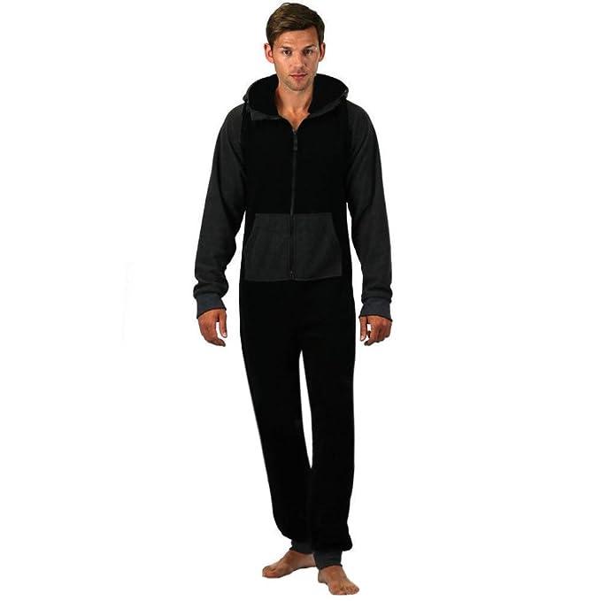 Pingtr - Pijama de una Pieza - para Hombre Negro Negro S