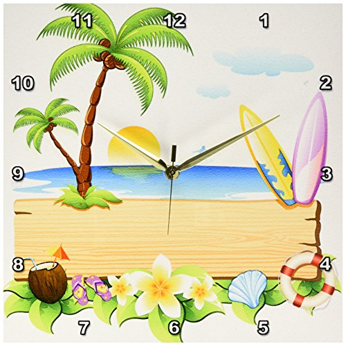 - 3dRose dpp_167252_2 Tropical Beach Scene with Surfboards, Shells, Sun, Palm Trees and More-Wall Clock, 13 by 13-Inch