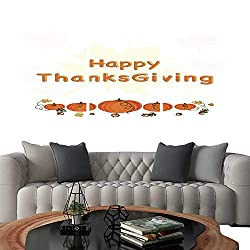 UHOO Pictures Paintings on Canvas WallThanksgiving Celebrations with Pumpkins on Beautiful Maple Leaves Background Brick Wall Stickers 20x28x3pcs