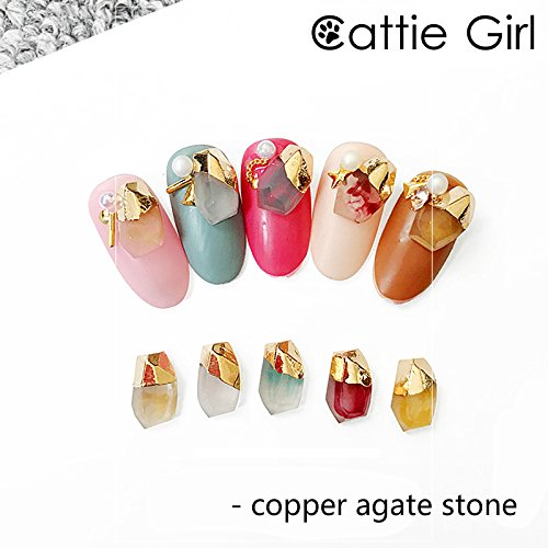 Cattie Girl 5 Pieces Copper Agate Stone Nail Metal Decoration Marble Stone Gold Reusable Nails Studs Designs 3D DIY Japanese Manicure Nail Art ()