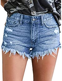 Womens Jean Shorts Mid-Rise Frayed Raw Hemline Ripped...
