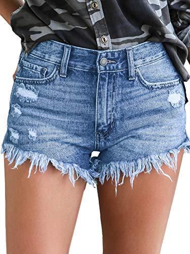 Govc Womens Jean Shorts Mid-Rise Frayed Raw Hemline Ripped Denim Short Jeans(Lightblue,L)