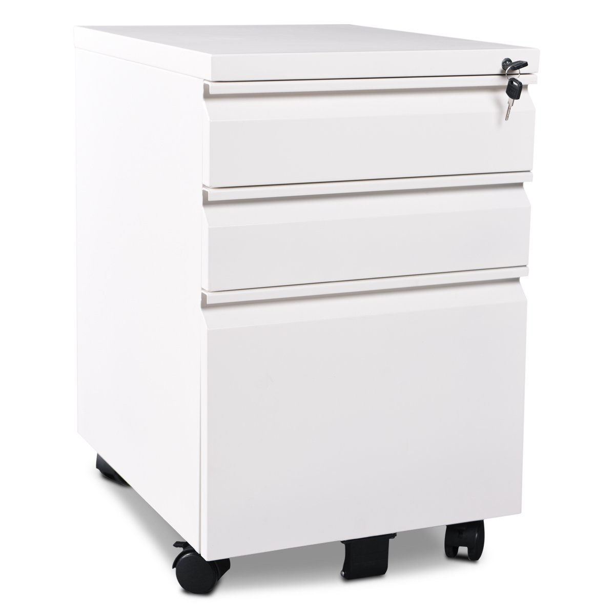 3 Drawer Metal File Cabinet with Lock by DEVAISE in White-Black(15.8 W x 19.7 D x 24.5 H) (White)