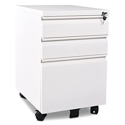 3 Drawer Metal White File Cabinet With Lock (15.7u0026quot; W X 19.7u0026quot; ...