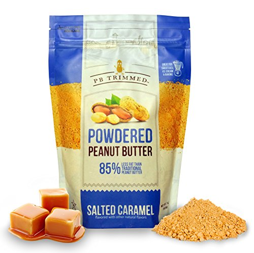 PB Trimmed SALTED CARAMEL All Natural & Kosher Premium Powdered Peanut Butter from Real Roasted Pressed Peanuts, Good Source of Protein - 1 LB Pouch. (Salted Caramel, 1 LB) ()