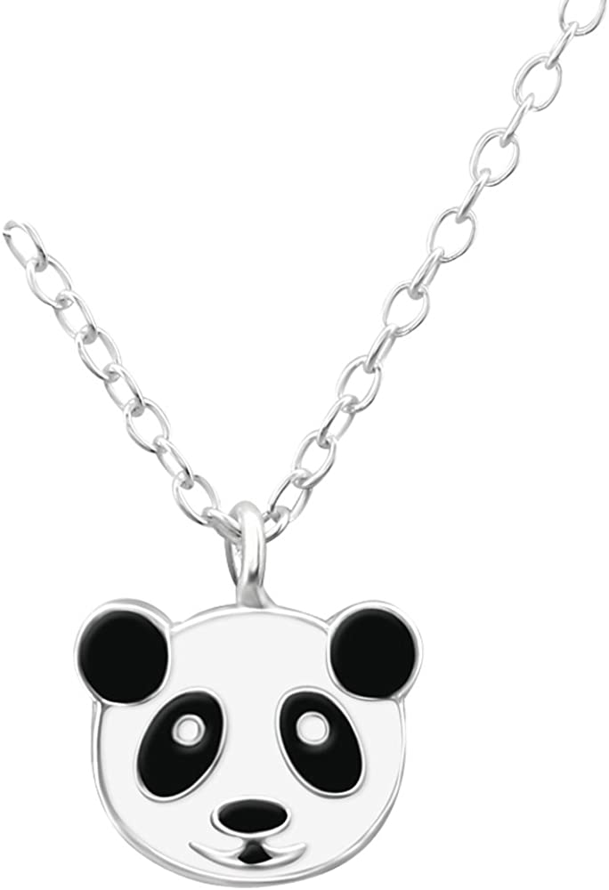 Laimons Kids Colgante con collar para niña Oso panda Negro, Blanco Plata de ley 925