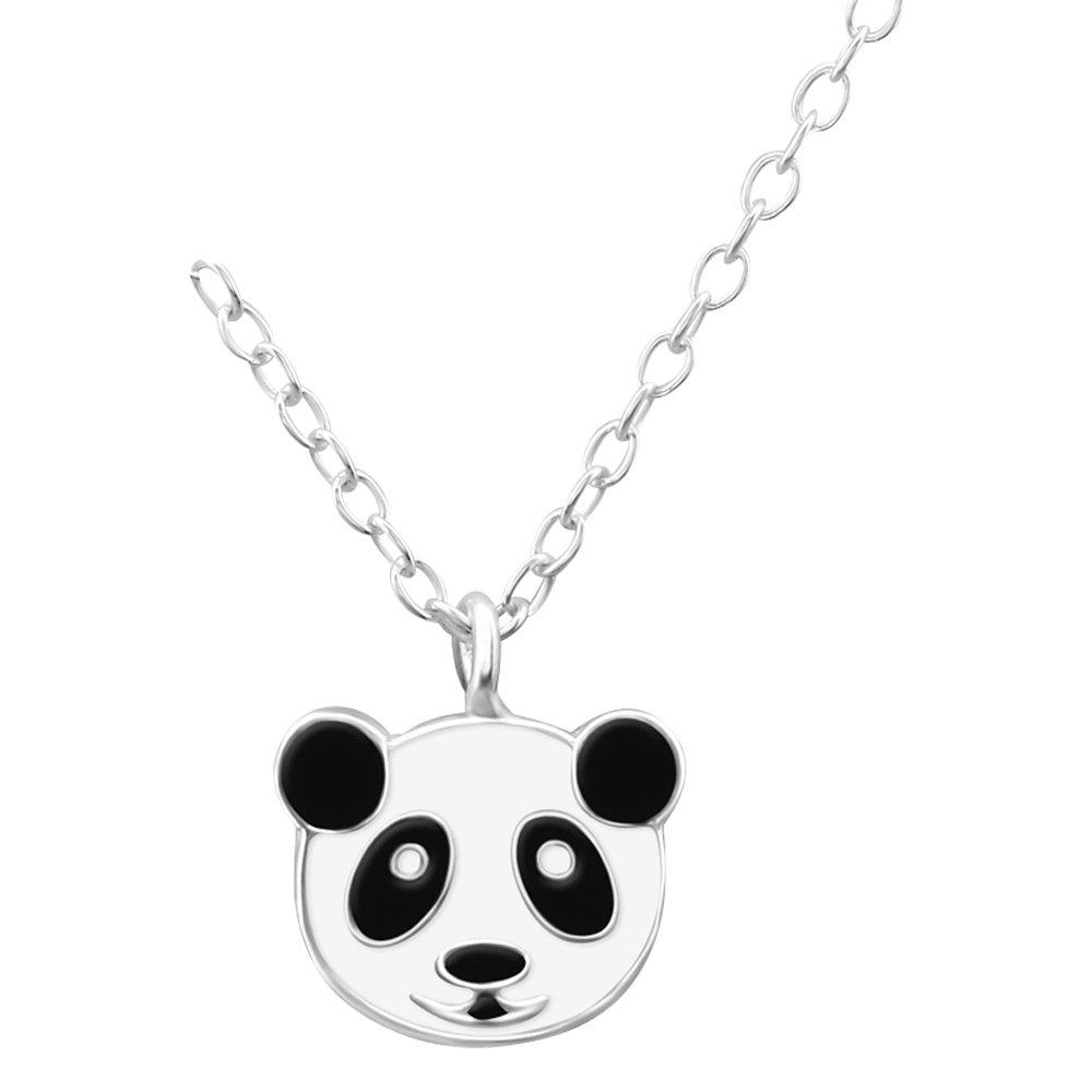 Laimons Kids Collier avec pendentif pour enfant panda noir blanc argent sterling 925