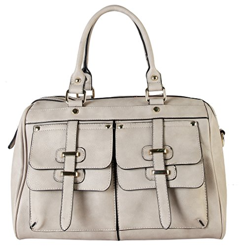 Rimen & Co. Double Front Pockets Two Top Handle Zipper Closure Casual Doctor Style Women Handbag Purse K30-2657 (Taupe)