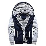 Toimothcn Mens Faux Fur Lined Coat Winter Warm Fleece Hood Zipper Sweatshirt Jacket Outwear (Blue,XXL)