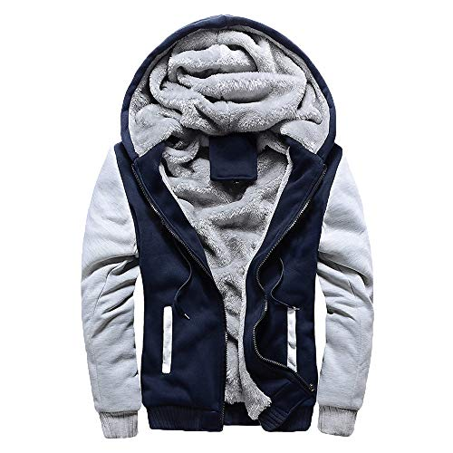 Toimothcn Mens Faux Fur Lined Coat Winter Warm Fleece Hood Zipper Sweatshirt Jacket Outwear (Blue,M) -