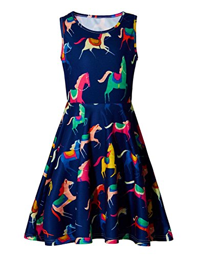 BFUSTYLE Vintage Horse Dresses for Girls, Little Girls Round Neck Sleeveless Slim Fit Casual School Dresses Yellow Red Pink Blue Green Orange Dress,Size 4