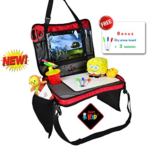 Detachable Rear - Kids Travel Tray Detachable 4 in 1 Portable Backseat Lap Tray Car Seat Play Organizer Tablet Holder for Kids, Snack Tray and Carry Bag with Dry Erase Top for Children All in One