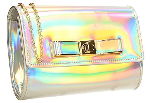 Clutch Ladies Silver Party Holograph Prom Holograph Bag Shiny SWANKYSWANS Womens Ozcar Mettalic 0FqwO