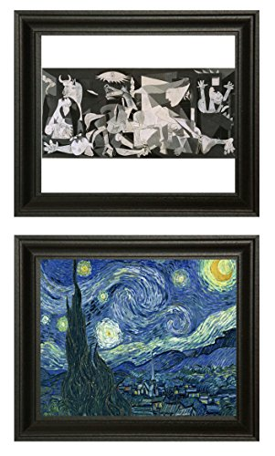 WAHLQUIST 2-Pack 8 x 10-inch Fine Art Reprints of Picasso's GUERNICA & Van Gogh's Starry Night.