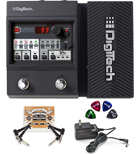 Built In Expression Pedal - DigiTech Element XP Multi-Effects Processor with Expression Pedal Bundle with Blucoil 2-Pack of Pedal Patch Cables and 4-Pack of Celluloid Guitar Picks