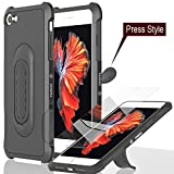 iPhone 7 case anti [shockproof bumper] with flexible [kickstand] slim fit dual layer TPU cover [tempered glass screen protector] heavy duty full protective for [car-mount] case 7 47 inch (2017) black