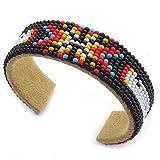 La vivia Handmade Holiday Shopping Black Orange Butterfly Beaded Cuff Bracelet B53/8 Multi Color
