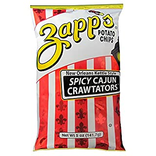 Zapp's New Orleans Kettle-Style Potato Chips, Cajun Crawtator – Crunchy Chips with a Spicy Kick, Great for Lunches or Snacking on the Go, 5 oz. Bag (Pack of 12)