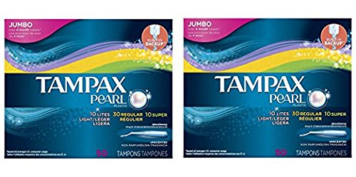 Tampax Pearl Plastic Tampons, Triple Pack, Light/Regular/Super Absorbency, Unscented, 50 Count (Pack of 2)