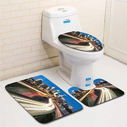 MTSJTliangwan 3-Piece Bathroom Set, Bathroom Rug + Contour pad + lid Toilet seat, Minneapolis 35W Skyline and Lightrails at Sunset Comfortable Flannel Rug