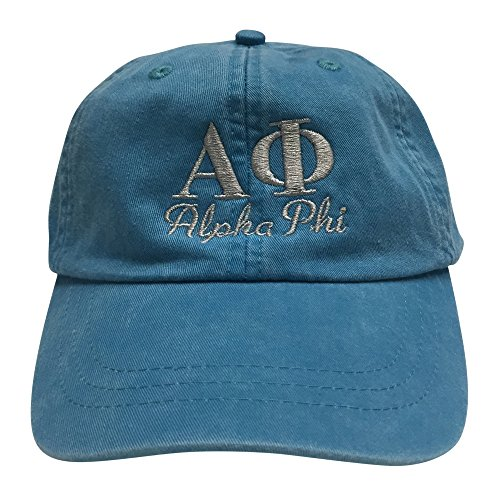 Alpha Phi Script (S) Bright Blue Designer Sorority Baseball Hat Greek Letter Sports Cap with Gray Thread One Size Adjustable Strap A - Ralph Return Lauren Policy
