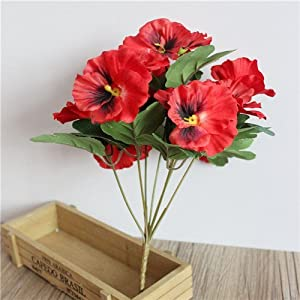 Hubry (TM) Pansy Artificial Flowers Plants Home Office Wedding Decoration Silk Flower DIY Flower Arrangement Floral Art D9 93