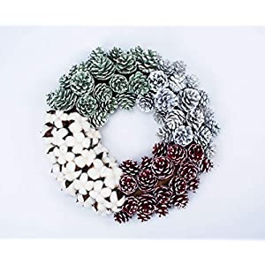 Huashen 18 Inch Mixed Cotton & Multi Pinecone Door Wreath for Front Door or Indoor Wall Décor to Celebrate Thanksgiving & Christmas Season 19