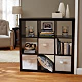 Better Homes and Gardens 9-cube Organizer Storage Bookcase Bookshelf Cabinet Divider (Solid Black)