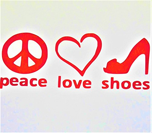 (Chase Grace Studio Peace Love High Heels Lady Shoes Vinyl Decal Sticker|RED|Cars Trucks Vans SUV Laptops Wall Art|7.5