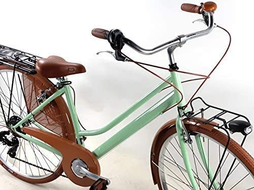 Bicicleta Mujer Retro Vintage Bici de Paseo Ruedas 28″ con Cambio Shimano 6 Velocidad/Verde Pistacho: Amazon.es: Deportes y aire libre