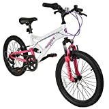Muddyfox Energy 20' Girls Dual Suspension 6 Speed Mountain Bike in White and Pink