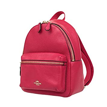 Coach Charlie Pebble Leather Mini Backpack F38263 Bright Pink