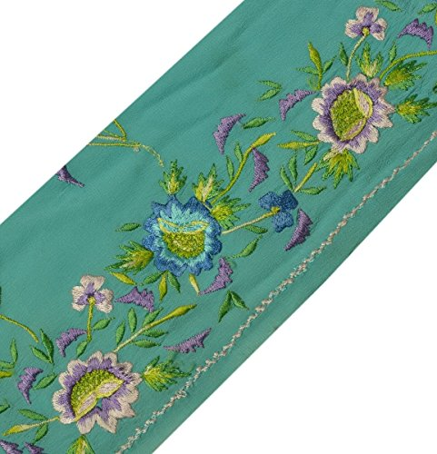 Turquoise Sari Blue (Vintage Sari Border Indian Craft Trim Embroidered Turquoise Blue Ribbon Lace)