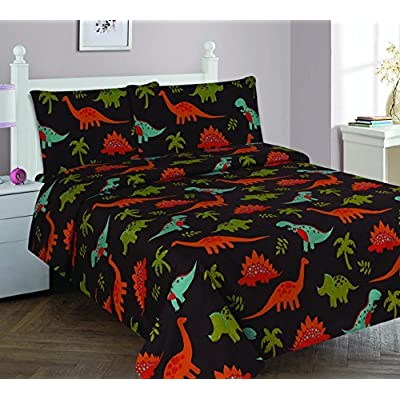 Elegant Home Dinosaurs Jurassic Park Design Multicolor Black Brown Blue Green 4 Piece Printed Full Size Sheet Set with Pillowcase Flat Fitted Sheet for Boys/Kids/Teens # Dinosaurs Brown 2 (Full): Home & Kitchen