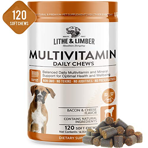 120 Chews New Developed Formula Daily Multivitamin Chews for Dogs - Non GMO Vet Developed Breakthrough Formula provides Required Daily Vitamin Needs for Optimal Health & Well being - Made in USA